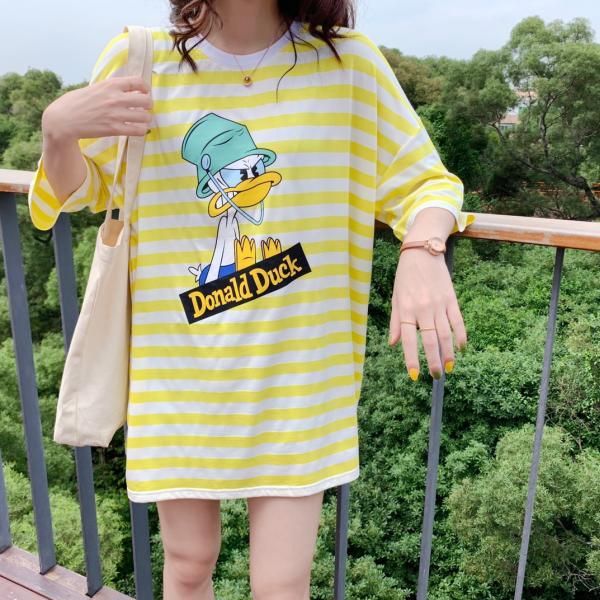 冰爽水桶鸭条纹T裙